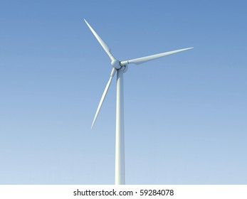 Wind turbine 3d perspective isolated on blue sky background.