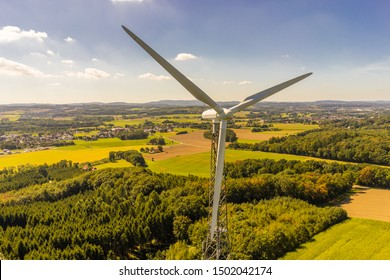 Wind turbine aerial photograph and close-up view
