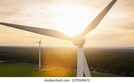 Wind turbine and agricultural fields - Energy Production with clean and Renewable Energy - copyspace for your individual text