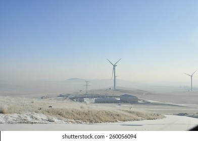 Wind Turbine for alternative energy on background sky in manzhouli,Inner Mongolia China