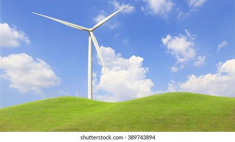 Wind Turbine for alternative energy on background sky.