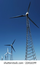 Wind turbine alternative renewable energy farms in early spring - a natural and sustainable renewable energy resource