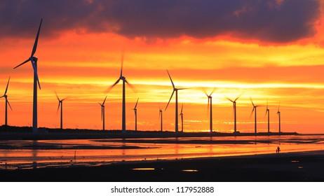 wind turbine array silhouettes at sea shore