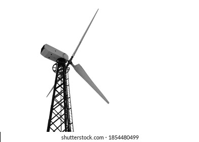 wind turbine back side view isolated on white background.