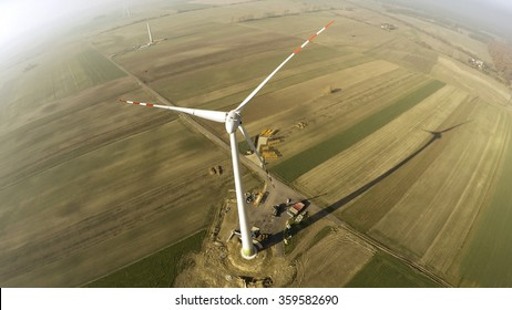 Wind turbine being under construction surrounded by agricultural fields in Polish country side. Poland, Western Part. Lubuskie voivodship.