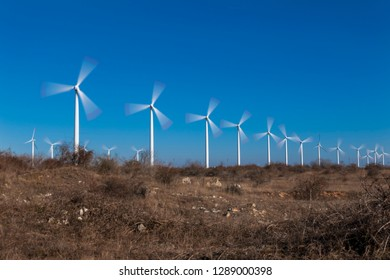 Wind Turbine and blue sky background