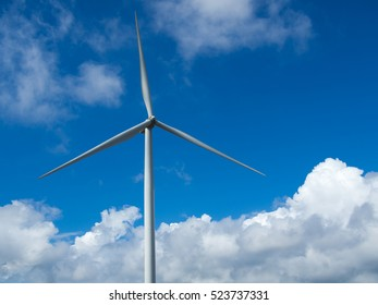 wind turbine and blue sky background with cloud