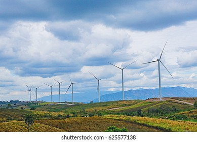 Wind turbine with blue sky at Khao Kho , Thailand