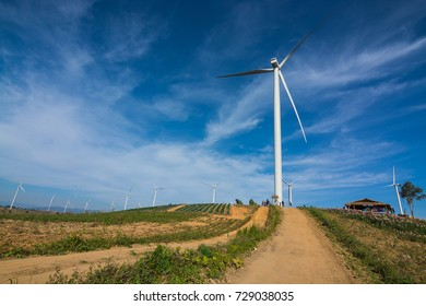 Wind turbine with blue sky in Thailand.