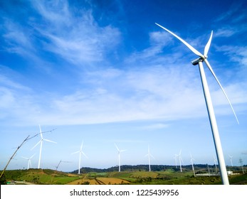 Wind turbine electrical generating for energy saving.,soft focus.