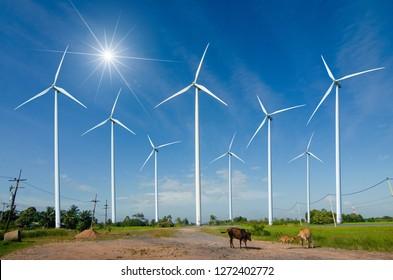 wind turbine energy  Green ecological power energy generation. Wind farm eco field Beautiful sky Hua Sai District Nakhon Si Thammarat Thailand
