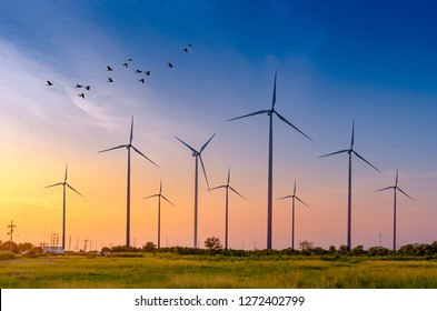 wind turbine energy  Green ecological power energy generation. Wind farm eco field Beautiful sky Hua Sai District Nakhon Si Thammarat Thailand