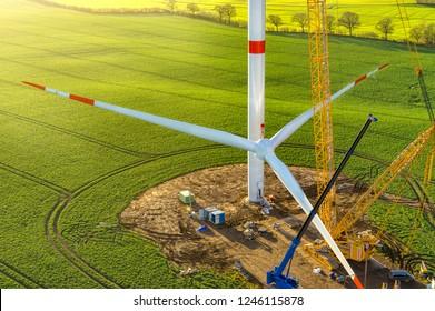wind turbine erecting sunrise