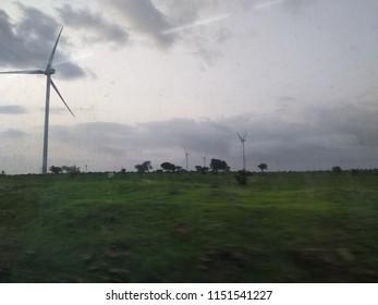 Wind turbine in the evening in India