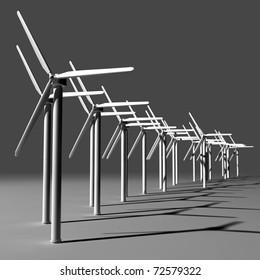 Wind turbine farm 3D render
