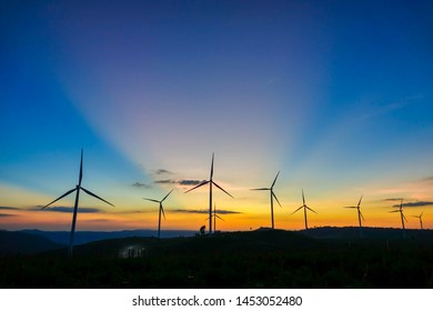 Wind turbine farm from clean energy. Wind power for electricity.