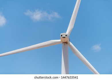 Wind turbine farm closeup of one near Snyder Roscoe and Sweetwater Texas in USA isolated against sky
