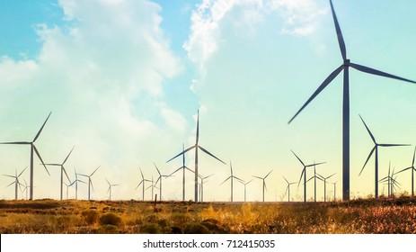 Wind turbine Farm and clouds in open field, composite