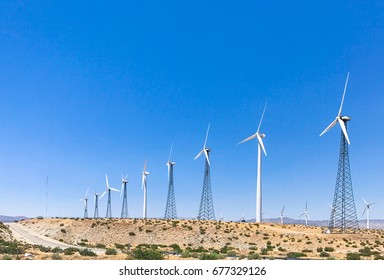 wind turbine farm in the desert of Plam springs, California, USA.