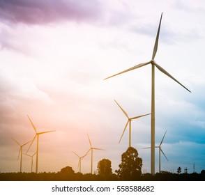 Wind turbine farm - Environment friendly. Sustainability development. Alternative and renewable energy.