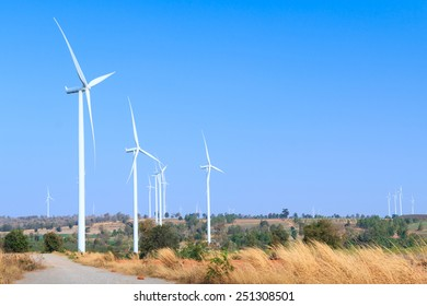 Wind turbine farm, generating electricity
