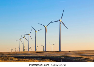 Wind turbine farm near Wasco Oregon along the Columbia river.  The wind blows through the Columbia gorge 95% of the time making it great for wind energy farming