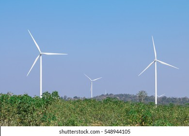 Wind turbine farm on the hills