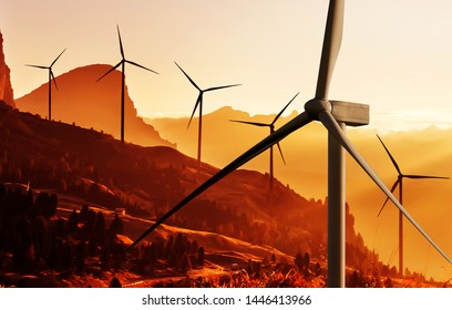 Wind turbine farm power generator in beautiful nature landscape for production of renewable green energy is friendly industry to environment. Concept of sustainable development technology.
