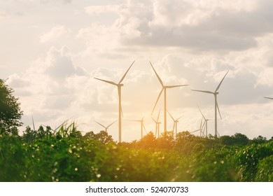 Wind turbine farm - renewable, sustainable and alternative energy