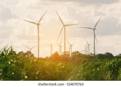 Wind turbine farm - renewable, sustainable and alternative energy