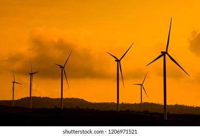 Wind turbine farm silhouette