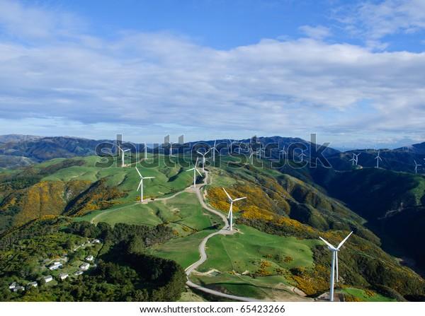 Wind Turbine farm in Wellington, New Zealand