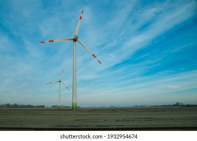 wind turbine in the field. wind turbine on sky. Large wind turbine