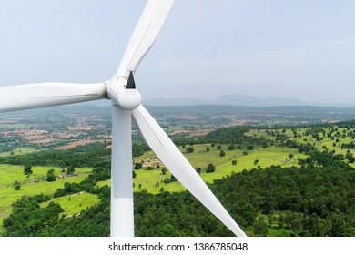 Wind turbine for generate electricity with scenery view and clear sky, renewable energy
