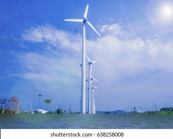 wind turbine generating eco electricity with flood