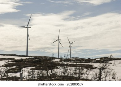 wind turbine generating electricity at mountin area in northen Sweden