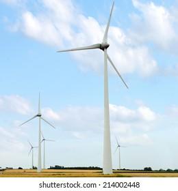 Wind turbine generators in a field against blue sky
