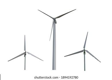 wind turbine isolated on white, wind power plant.