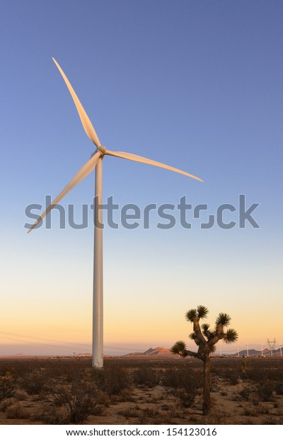 Wind turbine and joshua tree in Mojave, California.