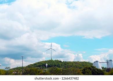 Wind Turbine located near Allianz Arena, Munich, Germany