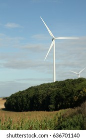 Wind turbine or wind mill or aeolian in Aisne, Picardy in north of France