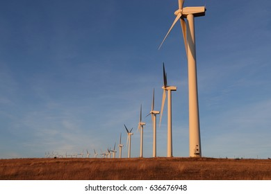 Wind turbine or wind mill or aeolian in Aude, Occitanie in south of France