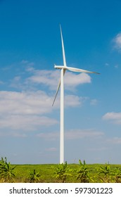Wind turbine on the blue sky field.