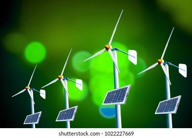 wind turbine on a blurred technology background