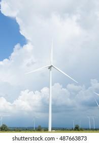 wind turbine on farm and sky