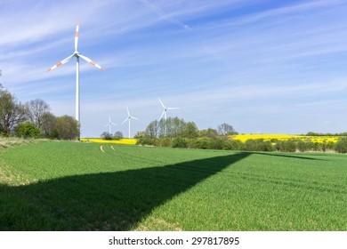 Wind turbine on the field