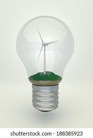 Wind turbine on the grass inside light bulb, eco light bulb