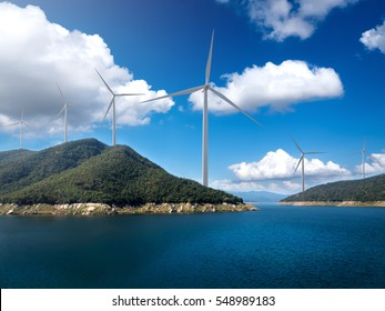 wind turbine on the hill. power plant concept.