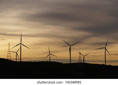 Wind turbine on the mountain.