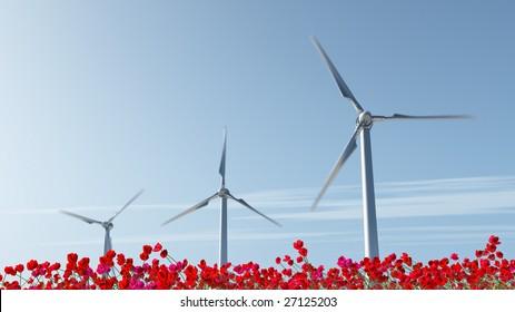 wind turbine on red poppy field
